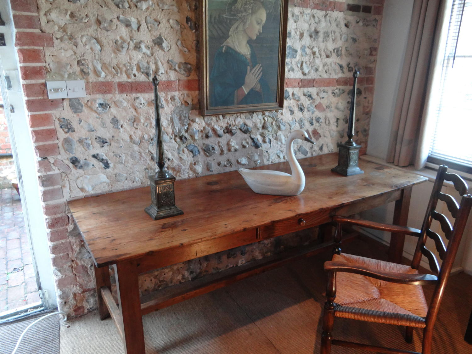 19thC French fruitwood dining table
