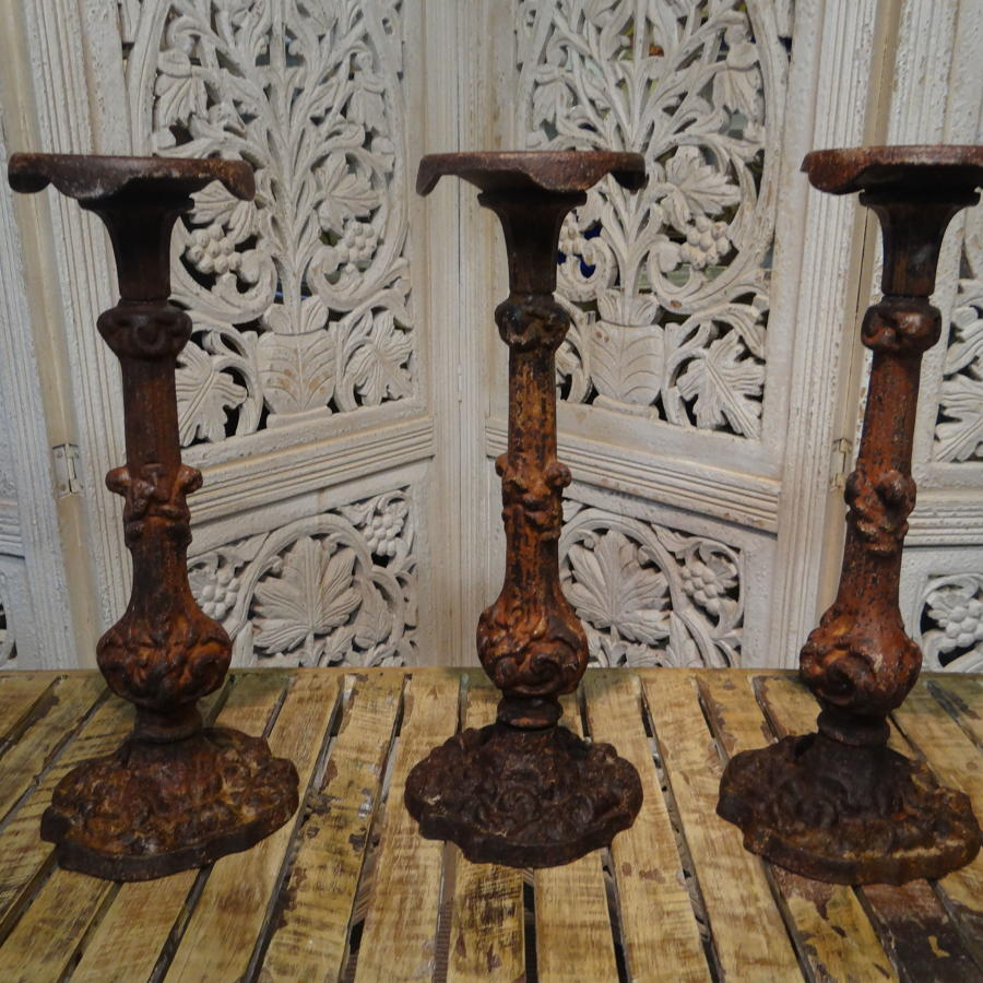 French Cast Iron Candlesticks